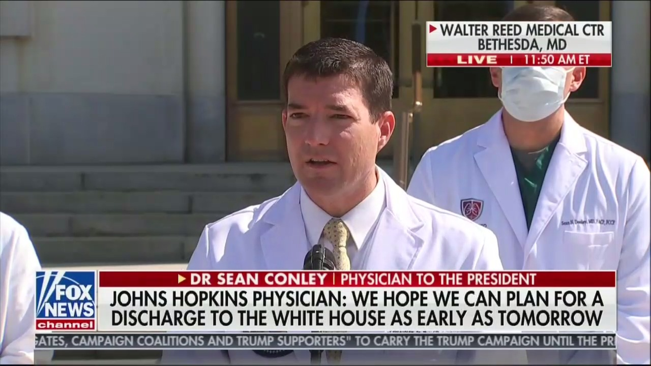 Dr. Sean Conley Reveals He Lied When He Stated Trump Was Not Put on Oxygen Friday