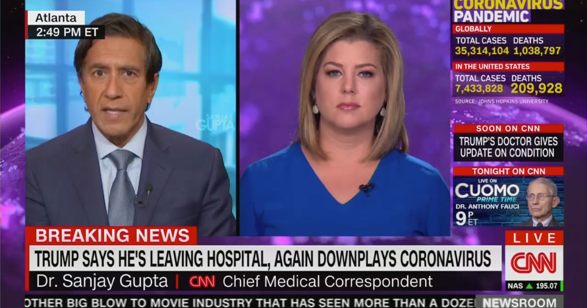 CNN's Dr. Sanjay Gupta Warns Trump's Release from Hospital is Premature: It's 'Pretty Obvious He Should Stay'