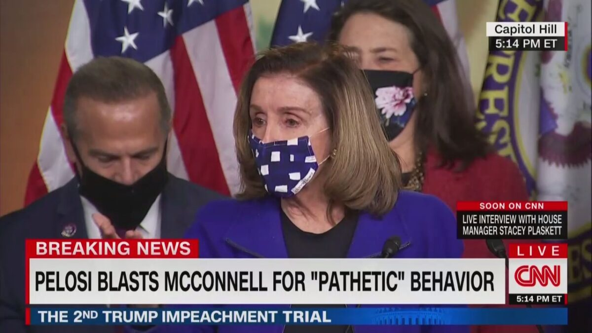 Pelosi Calls McConnell 'Cowardly' For Speech Justifying Vote to Acquit Trump