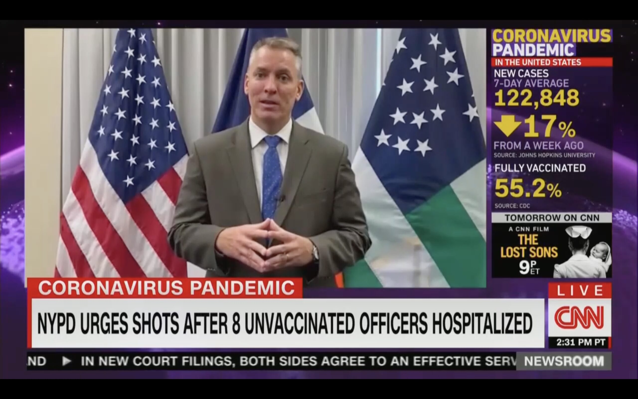 WATCH: NYPD Commissioner Issues 'Desperate Plea' Urging Vaccinations After 8 Unvaxxed Cops Hospitalized - Mediaite